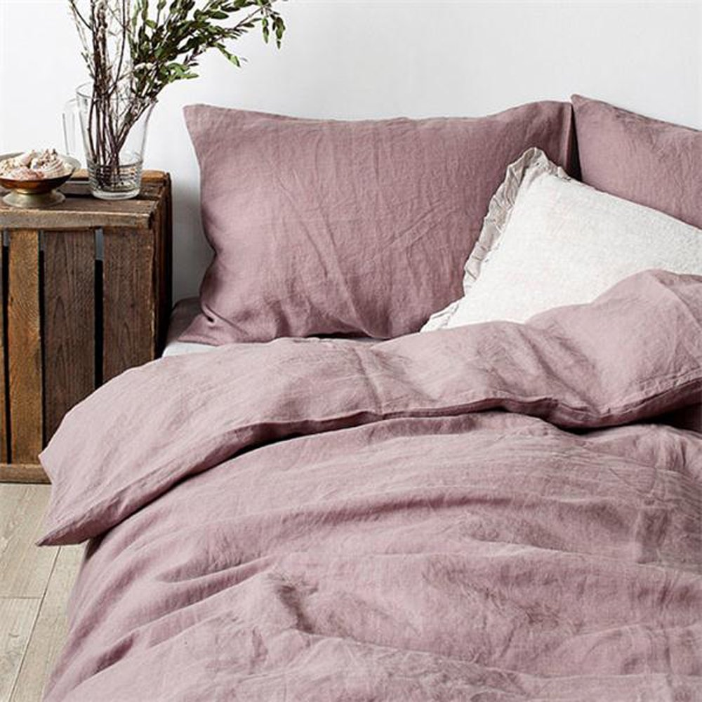 Lausonhouse 100% Linen Duvet Cover Set - Full/Queen - Mauve