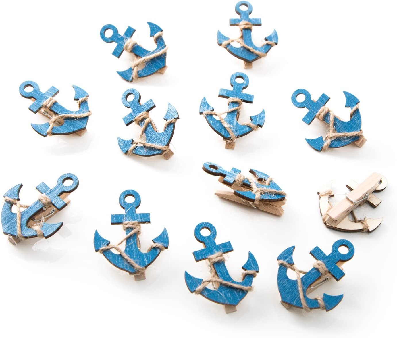 segnaposto con 5,5/cm x 4,5/cm; piuttosto mollette come Clips 12/pezzi blu decorazione mollette di legno foto titolare etc. 6/pesci + 6/ancoraggio