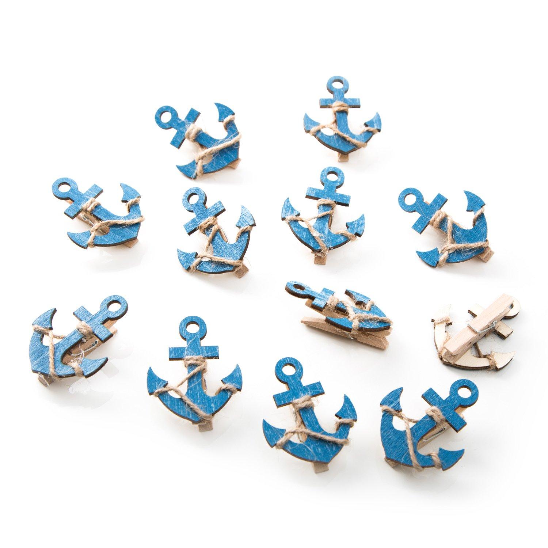 12pieza azul madera ancla Deko grapas con 5,5x 4,5cm; bonita Pinzas para cerrar bolsas, para fotos, etc. Jeanette Dietl