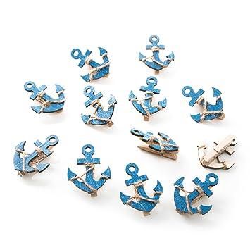 12 pieza azul madera ancla Deko grapas con 5,5 x 4,5 cm ...