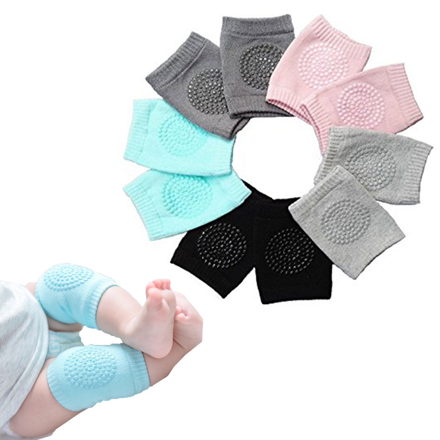 FASHIONY Baby Boys Girls Crawling Anti-Slip Knee pads Baby Toddlers Kneepads 5 Pairs