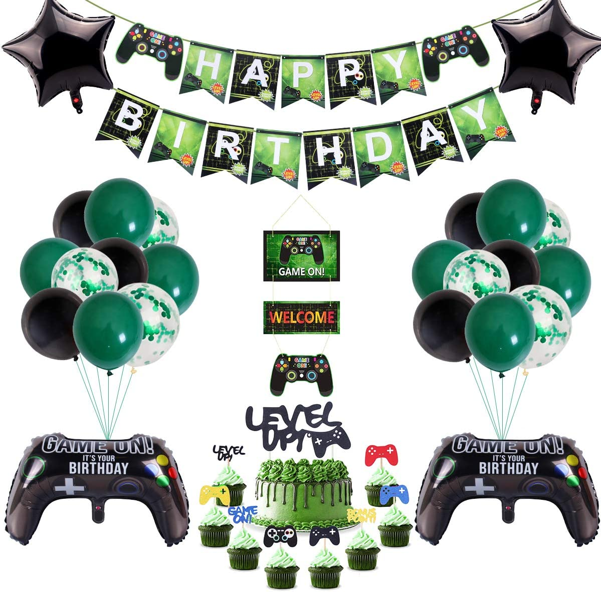 51 Pcs Video Game Party Supplies,Video Game Party Balloons Game Controller Balloons HAPPY BIRTHDAY Gaming Banner GAME ON Welcome Hanging Decor and Game Themed Cupcake Topper for Boys Birthday Party