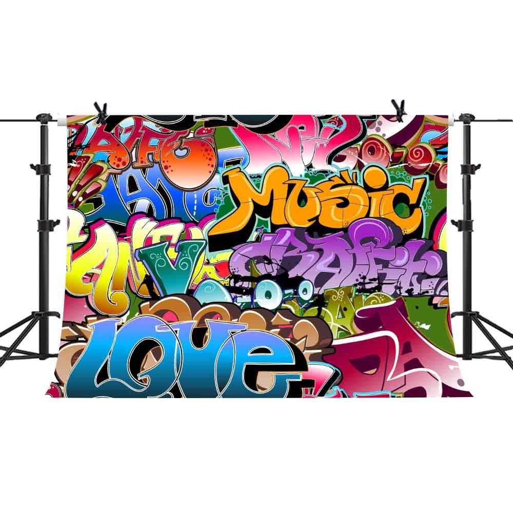 PHMOJEN Graffiti Style Photography Backdrop 7x5ft 80's 90's Themed Party Hip Hop Photo Booth Backgrounds Studio Props GEPH033 by PHMOJEN