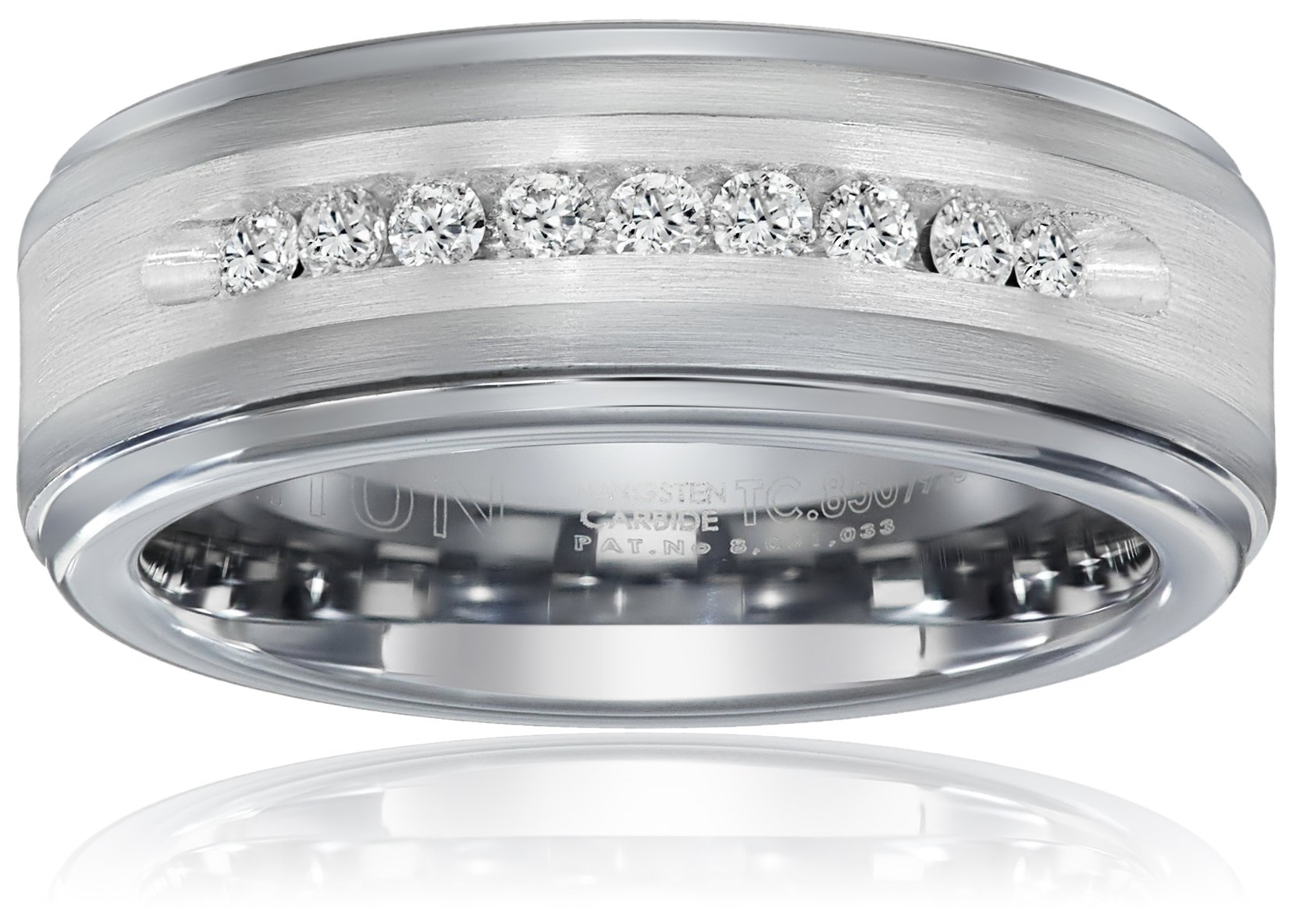 Triton Men's Tungsten and Silver 8mm Comfort Fit Diamond Wedding Band (1/4cttw, I-J Color), Size 9.5