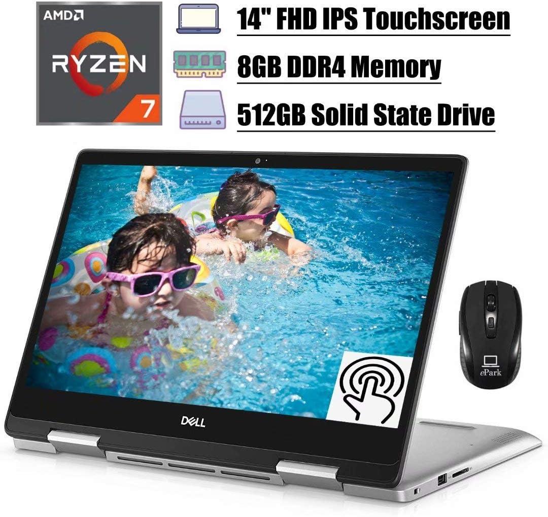 Flagship 2020 Dell Inspiron 14 5000 2 in 1 Laptop, 14'' FHD IPS Touchscreen, AMD Quad-Core Ryzen 7 3700U (Beat i7-7500U), 8GB DDR4 512GB SSD, Backlit KB FP Win 10 (Silver) + ePark Wireless Mouse
