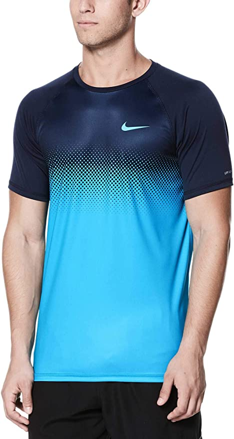 ab993f2a Nike Men's Fade Mist Short Sleeve Hydro Rash Guard (Obsidian, Small)
