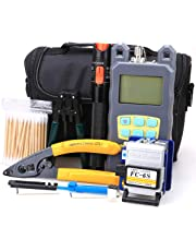 FTTH Fiber Cold Connection Tool Kit 19 in 1 with FC-6S Fiber Cleaver 10mW Visual Fault Locator Optical Power Meter Cable Tester Stripping Tool Cotton Swab