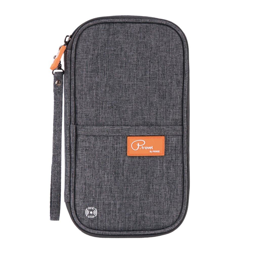 Tuscall Travel Wallet Family Passport Holder RFID Blocking Waterproof Document Organizer Credit Card Clutch Bag for Men Women (Grey)