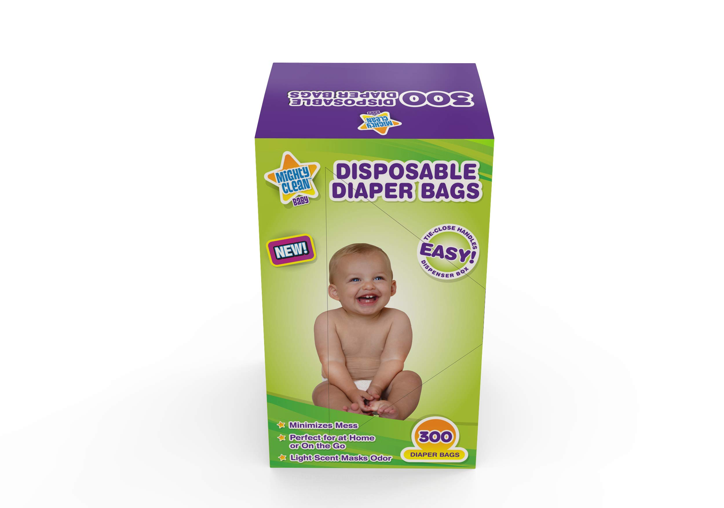 Mighty Clean Baby Disposable Diaper Bags with Light Powder Scent, 300 Count by Mighty Clean