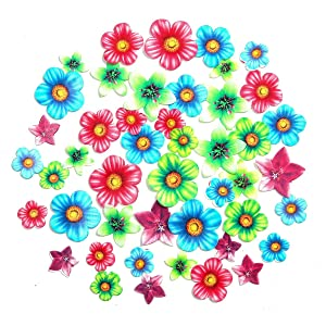 GEORLD 48Pcs Edible Cupcake Toppers Wedding Cake Birthday Party Food Decoration Mixed Size & Colour (Flower)