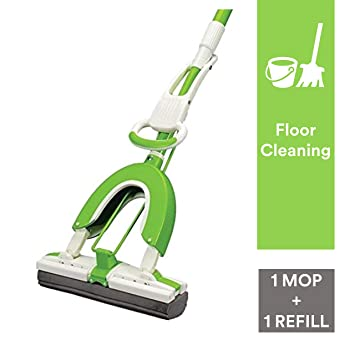 Scotch Brite Butterfly Plastic Mop and Refill Combo (Green)