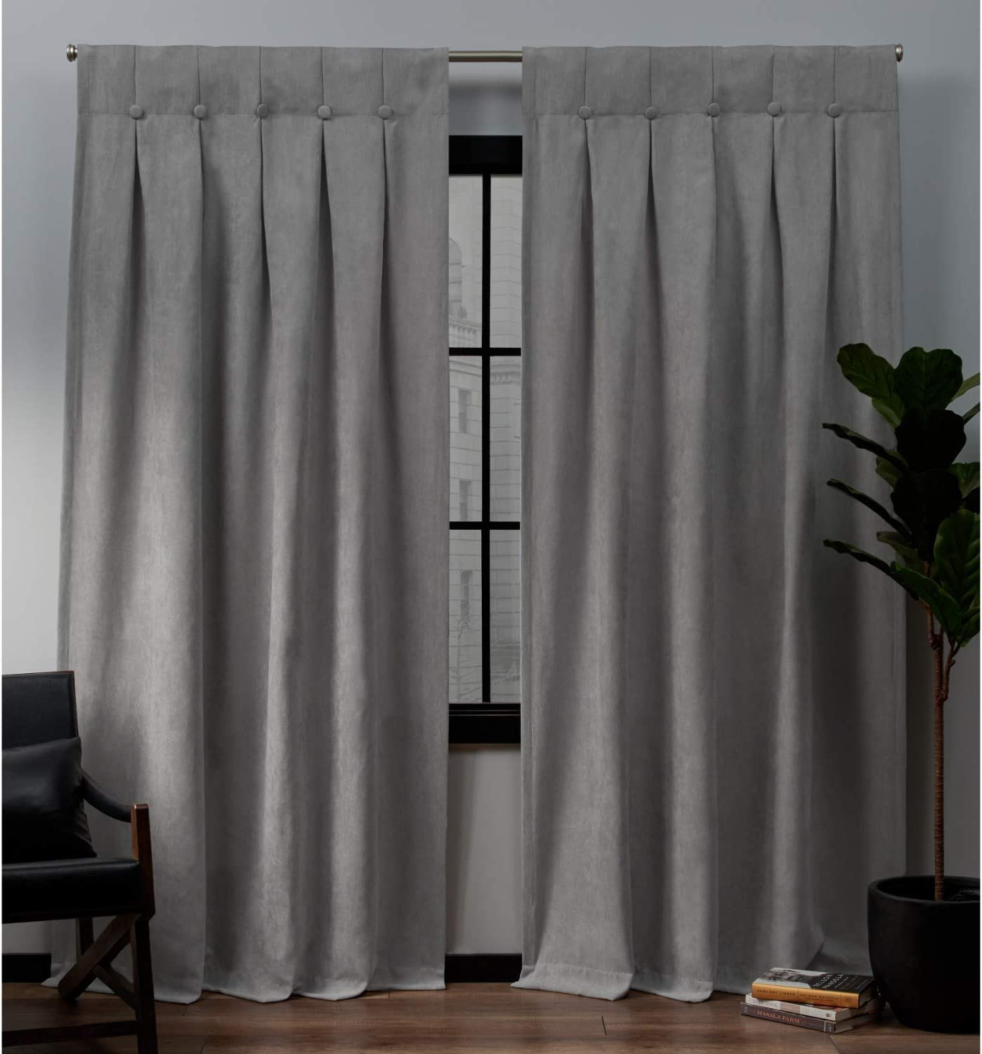 Exclusive Home Curtains Ghent Metrosuede Inverted Pleat Button Top Curtain Panel Pair, 32x96, Dove Grey