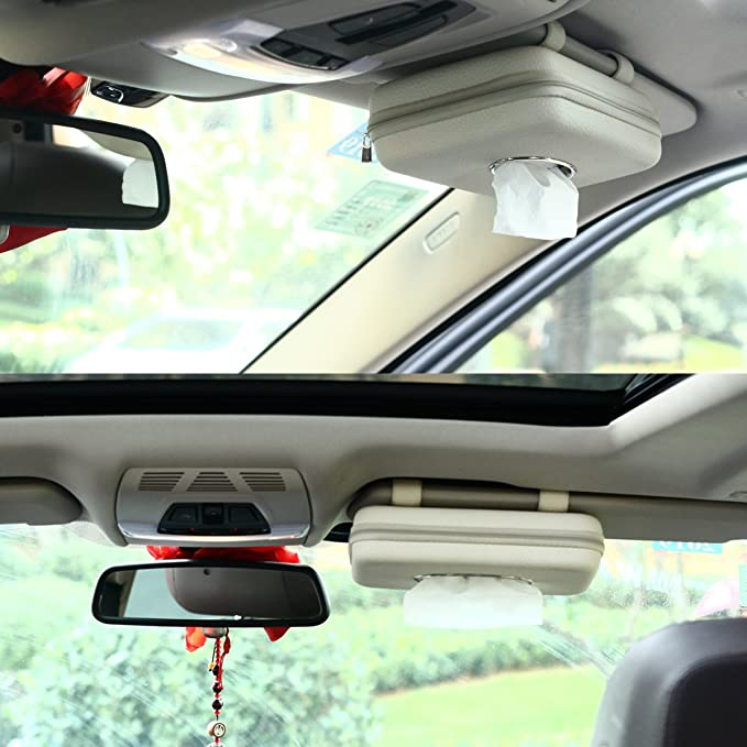 Paper Towel Box for Vehicle Home Office Beige 4350406487 MEIBEI Car Visor Tissue Holder PU Leather Napkin Cover