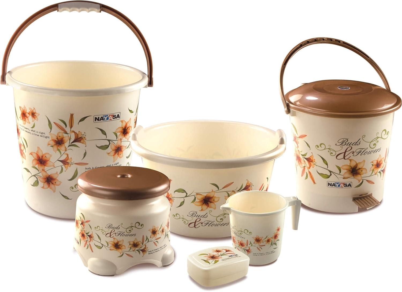 Nayasa Deluxe Small Bathroom Plastic Bucket And Mug Set, 6 Pieces, Brown:  Amazon.in: Home U0026 Kitchen