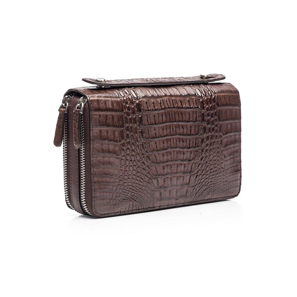 ZRO Men's Crocodile Skin Double Zip Business Clutch Wrist Handbag COFFEE