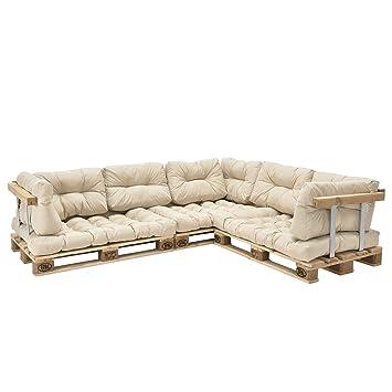 [en.casa]®] Set de 11 Cojines para sofá-palé - Cojines de Asiento + Cojines de Respaldo Acolchados [Beige] para europalé In/Outdoor