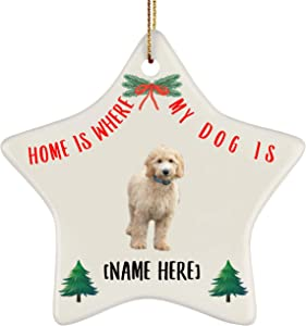 Lovesout Personalized Name Goldendoodle Gold Home is Where My Dog is Christmas Star Ornament