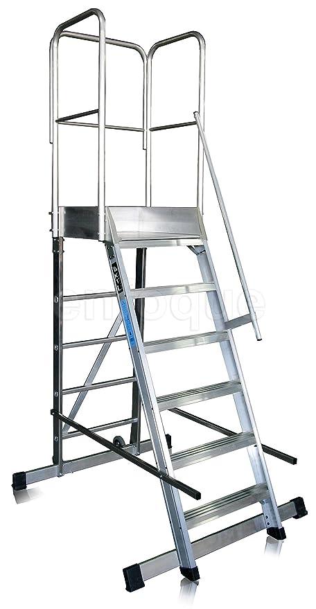 Escalera profesional de aluminio un acceso con plataforma de trabajo 6 peldaños 60x90 serie store 68º