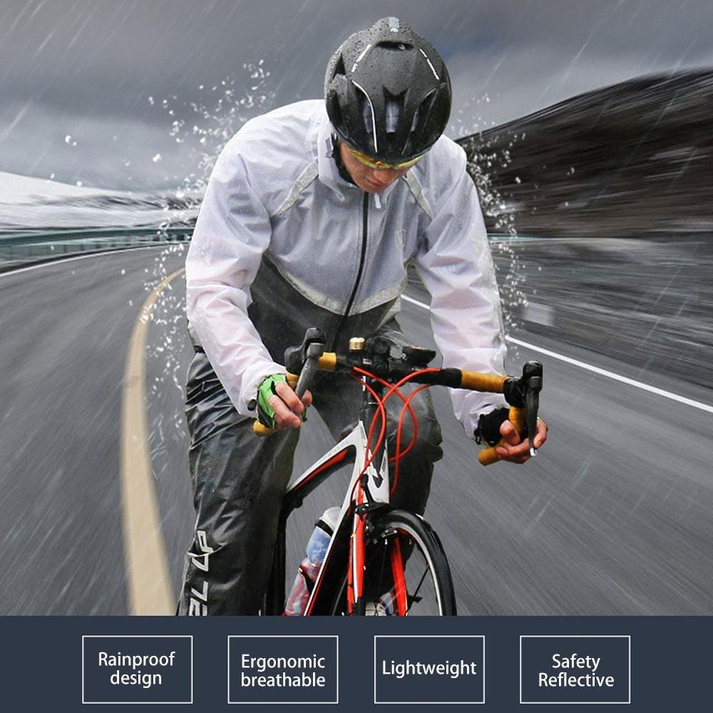 Bicicleta de monta/ña con Capucha Impermeable Motocicleta AOLVO Pesca Chubasquero Impermeable para Mujer y Hombre Reflectante Camping para Bicicleta al Aire Libre