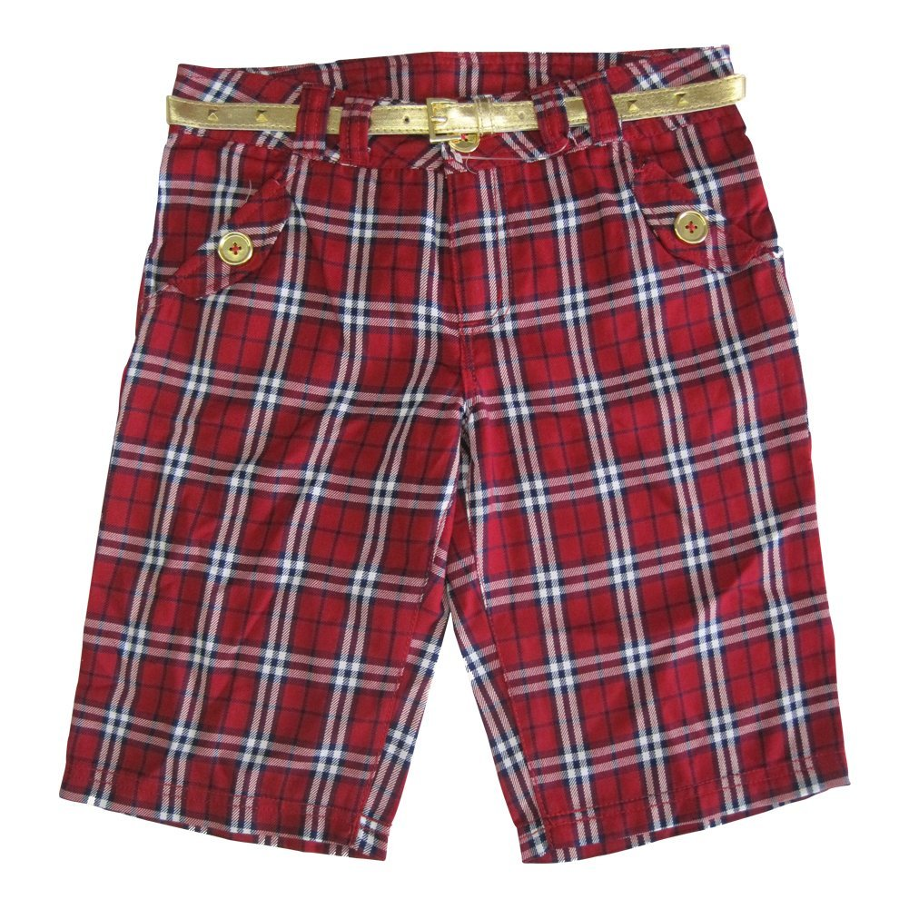 Disney Big Girls Red Plaid Jonas Brothers Style Gold Belted Shorts 14