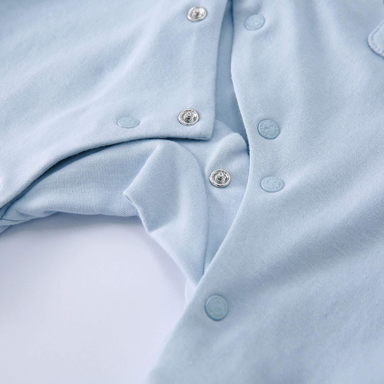 pureborn Unisex Baby Long Sleeve Cotton Footless Jumpsuit Sleep and Play