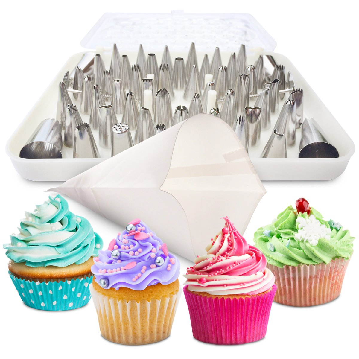 BakeLux Cake Decorating Tips Set - 56 Piece Professional Kit With 18-Inch Reusable Cotton Pastry Bag For Icing Piping, 2 Flower Nails, Coupler, Storage Box, Duyas Reposteria, Baking Tools Supplies COMIN16JU044119