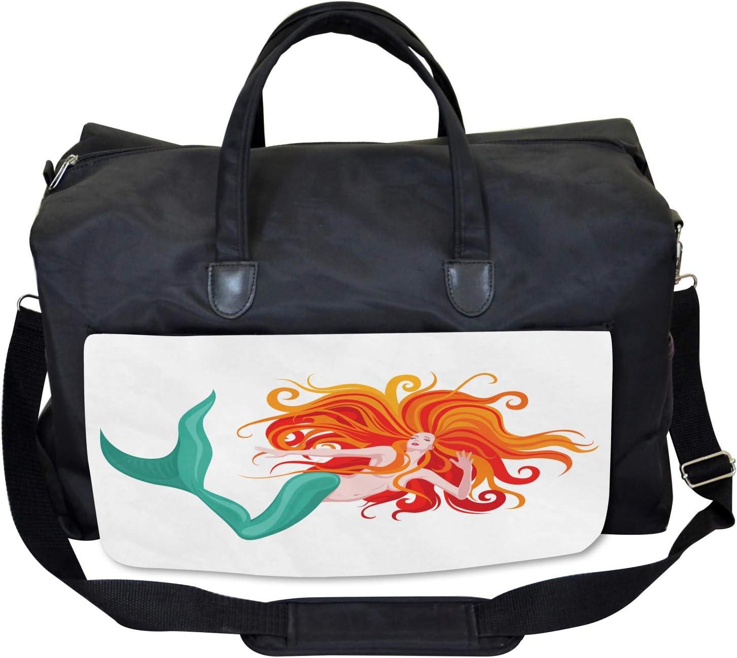 Large Weekender Carry-on Ambesonne Mermaid Gym Bag Fairytale Character