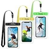 "(3 Pack) ProCase Universal Waterproof Pouch Cellphone Dry Bag Underwater Case for iPhone 11 Pro Max/Xs Max/XR/X 8 7 6S Plus, Galaxy Note10+ S10 Plus S9 S8+, Pixel 4 3 2 XL up to 6.8"" -Green/Yellow/Black"