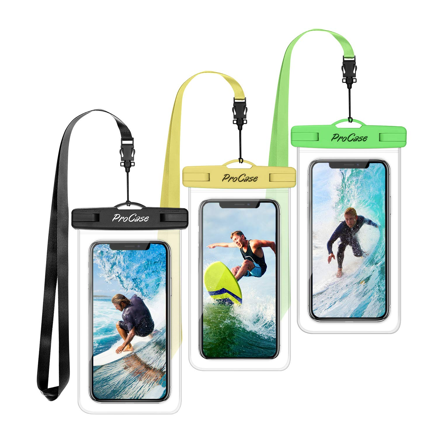 ProCase Universal Waterproof Pouch Cellphone Dry Bag Underwater Case for iPhone 11 Pro Max/Xs Max/XR/X 8 7 6S Plus, Galaxy Note10+ S10 Plus S9 S8+, Pixel 3 2 XL up to 6.8'' -3 Pack, Green/Yellow/Black by ProCase