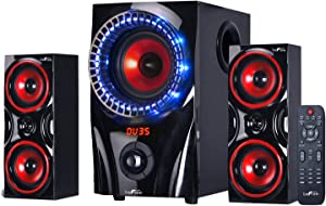 beFree Sound BFS-99X 2.1 Channel Surround Sound Bluetooth Speaker System, Red