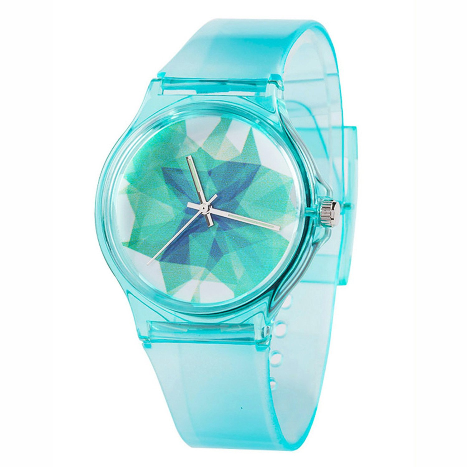 Kids Boys Girls Watches,Resin Super Soft Band Student Age 11-15 7-10 Wristwatches for Teenagers Young Girls Boys Nebula Starry(Mint Green)