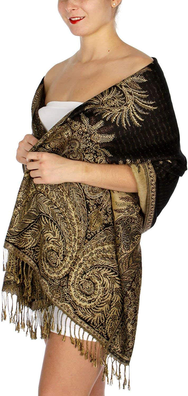 "Pashmina Soft 45/% Silk Thick Reversible Cashmere Shawl Wrap Scarf Black//Gold 76"""