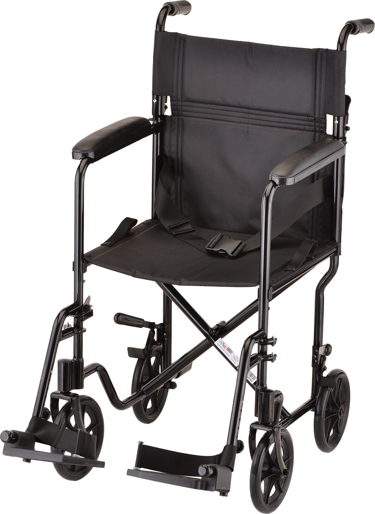 NOVA Medical Products 19'' Lightweight Transport/Wheelchair, Black