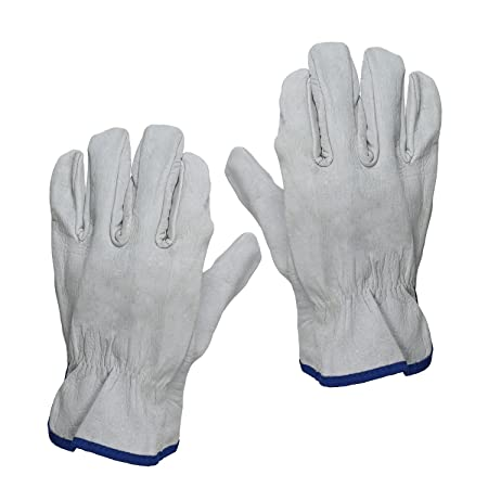 SAFEYURA Leather Reusable Sweat-free Gloves for Gardening (white) -1 Pair