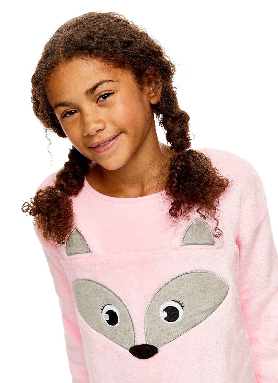 Long Sleeve Sleep Shirt with 3D Ears Girls Plush Fleece Nightgown