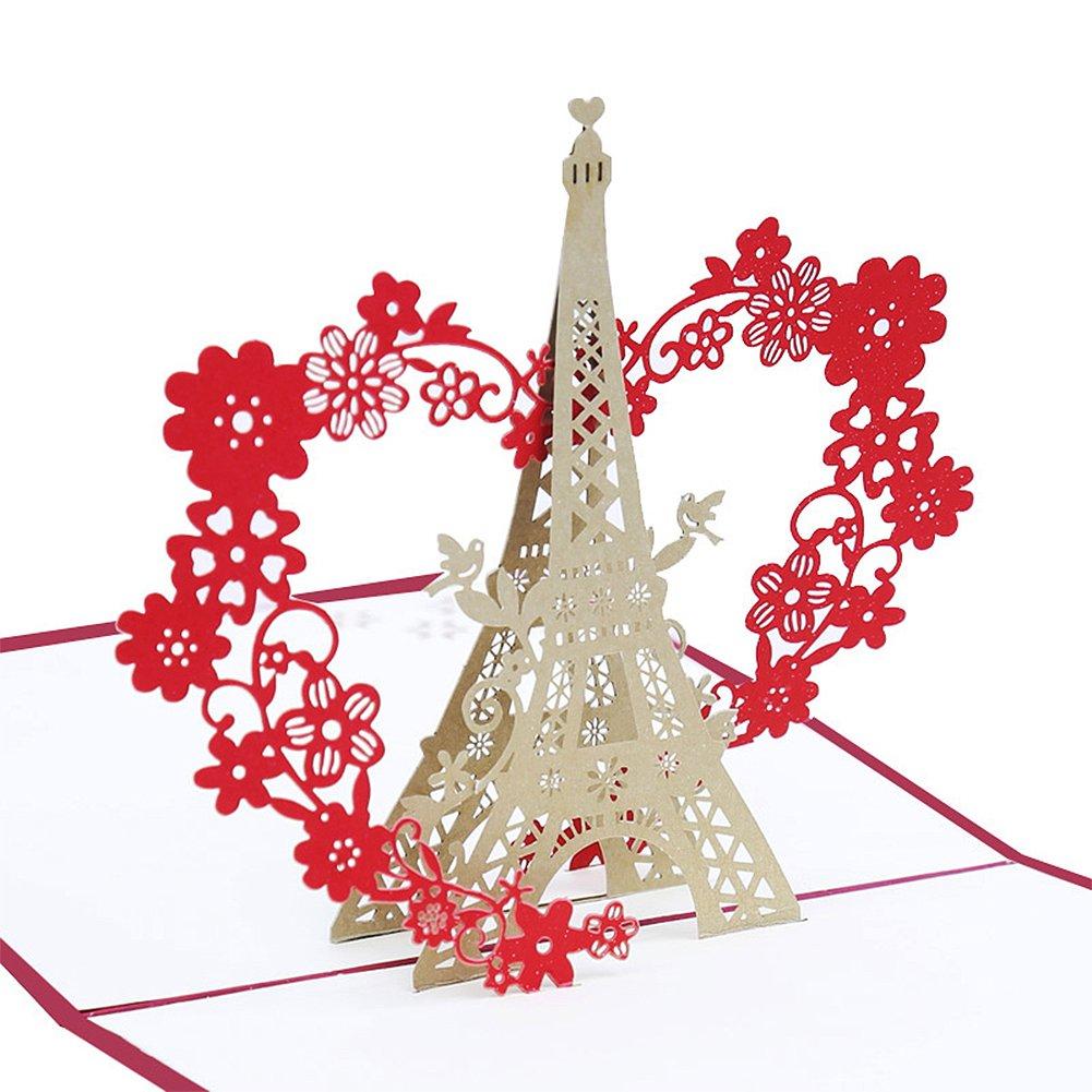 Amazon.com : Echeer Paper Eiffel Tower Pop up Birthday Greeting ...