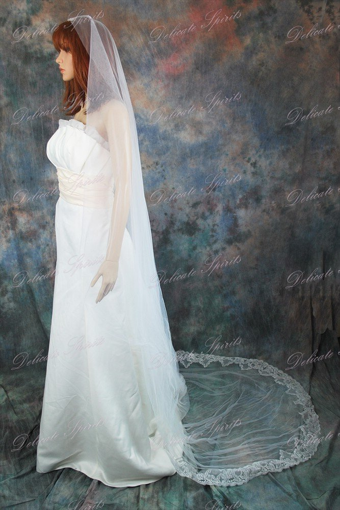 Bridal Wedding Mantilla Veil Ivory 1 Tier Long Cathedral Length With Lace Edge by Velvet Bridal (Image #2)