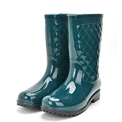 Luise Hoger Pvc Women Rain Boots Girls Ladies Rubber Shoes For Casual Walking Hunting Hunter Outdoor Mid-Calf Waterproof Female Low Heels Green 10