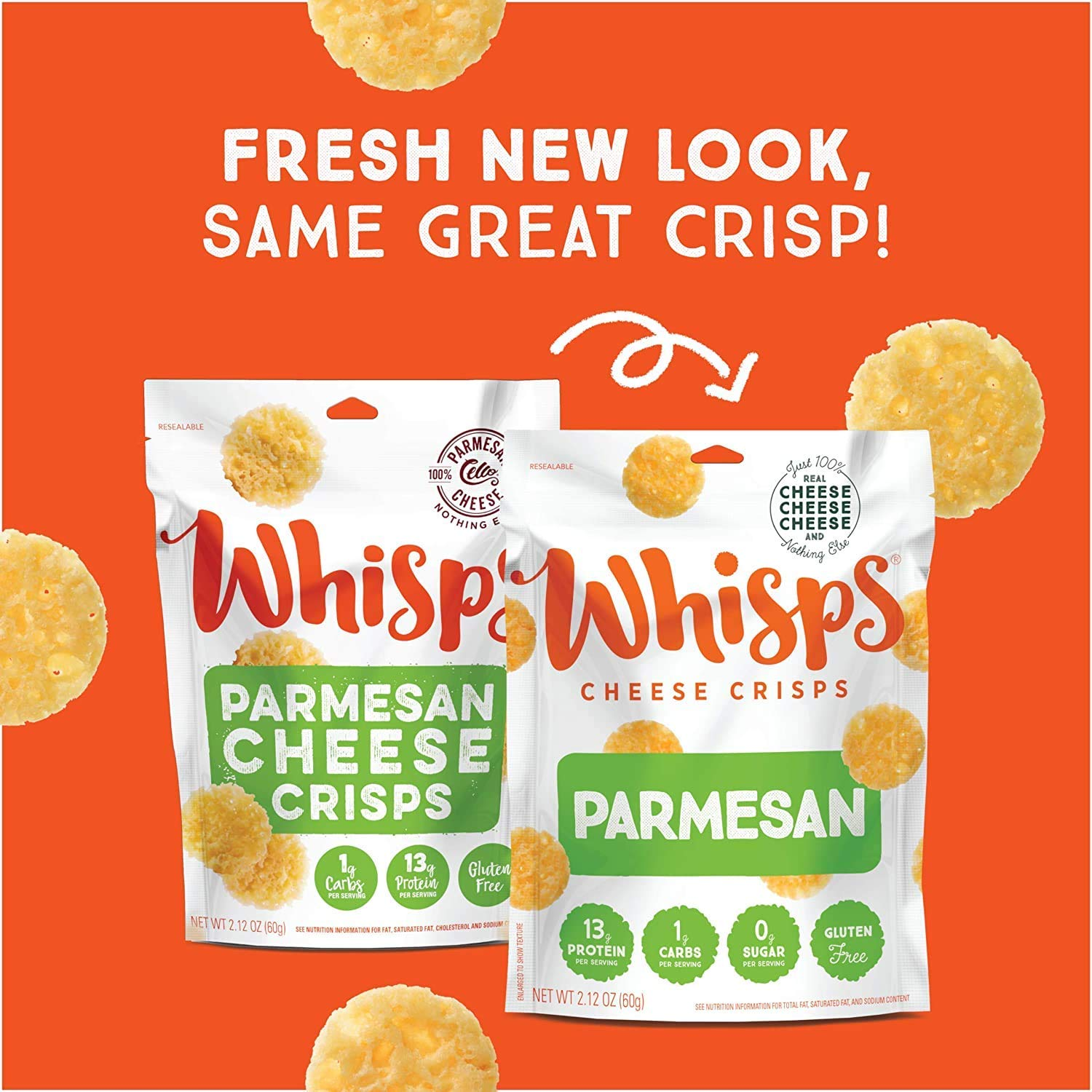 Cello Whisps Pure Parmesan Cheese Crisps, 2.12 Ounce (Packaging May Vary)