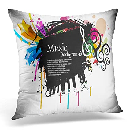 Emvency Throw Pillow Covers Funky Musical Disco with Music Tunes Party  Decorative Pillows case Square Size 7a446ca64