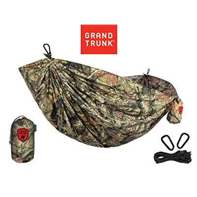 GRAND TRUNK Parachute Printed Nylon Double Hammock - Two Person Portable Hammock with Carabiners and Hanging Kit - Perfect for Outdoor Adventures, and Backpacking, Woodland Inspired (Mossy Oak) : Sports & Outdoors