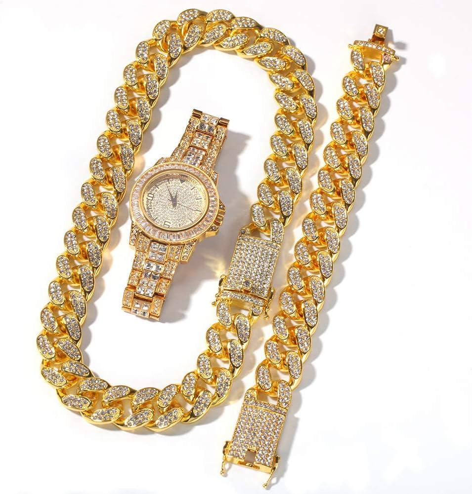 Reloj de Diamantes Completo de Gama Alta de Hip Hop, Pulsera chapada en Oro, Pulsera, Reloj, joyería, Hombres y Mujeres, Regalo de Tres Piezas (Oro, Plata).