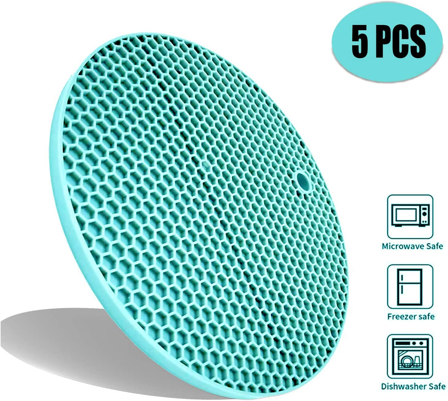 5Pcs Extra Thick Silicone Trivets Pot Holder and Oven Mitts,Trivets for Hot Dish,Nonslip Insulation Honeycomb Rubber Hot Pads for Countertop,Multi-Purpose,Flexible Mats Heat Resistant Potholders,Teal