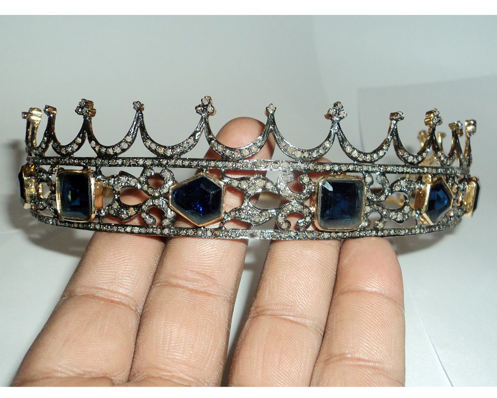 Queen Rose Cut Diamond Tiara - Wedding Rose Cut Diamond Crown - 925 Sterling Silver Tiara Crown - Diamond 925 Silver Tiara - Handmade Tiara - Hair Jewelry