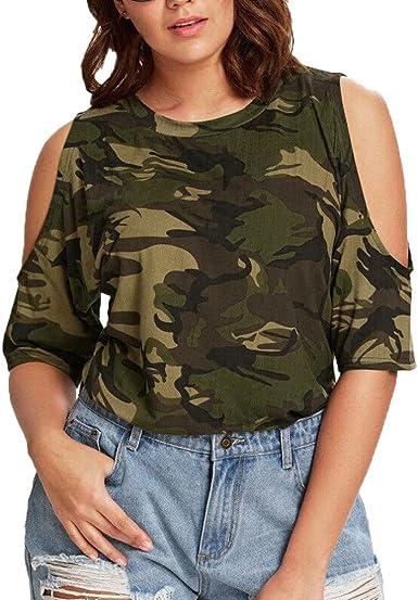 FAMILIZO Camisetas Mujer Sin Hombros Verano Blusa Mujer Elegante Camisetas Camuflaje Mujer Manga Corta Algodón Camisetas Mujer Fiesta Camisetas Mujer Originales Tallas Grandes: Amazon.es: Ropa y accesorios