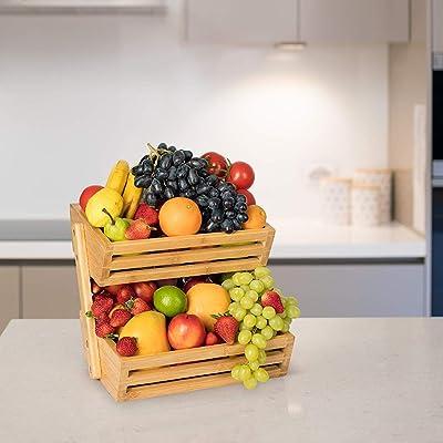2 Tier Countertop Bamboo Fruit Basket Rack Kitchen Vegetable Storage Holder Bowl