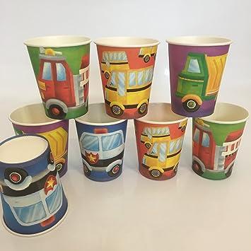 8 vasos * Vehículos * Cumpleaños para niños o fiesta ...
