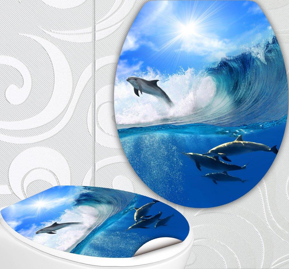 StickerProfis 'Sedile WC adesivi Delfin onda design Schermo parete per WC stanza incl. 2adesivi per piastrelle