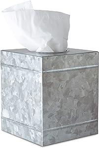 DELBRIO Original Square Tissue Box Cover - Galvanized Metal - Rustic Farmhouse - Cube Tissue Box Holder - Warm Farmhouse Accent Tissue Covers
