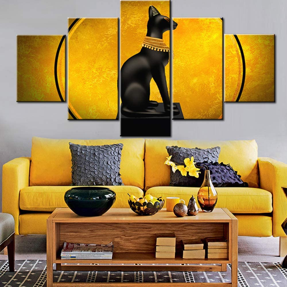 5 Piece Canvas Wall Art Egypt Cat Goddess Bastet Picture for Living Room Ancient Egyptian Painting Black Bastet Cat Artwork Modern House Decor Framed Ready to Hang Posters and Prints Gift(60''Wx32''H)